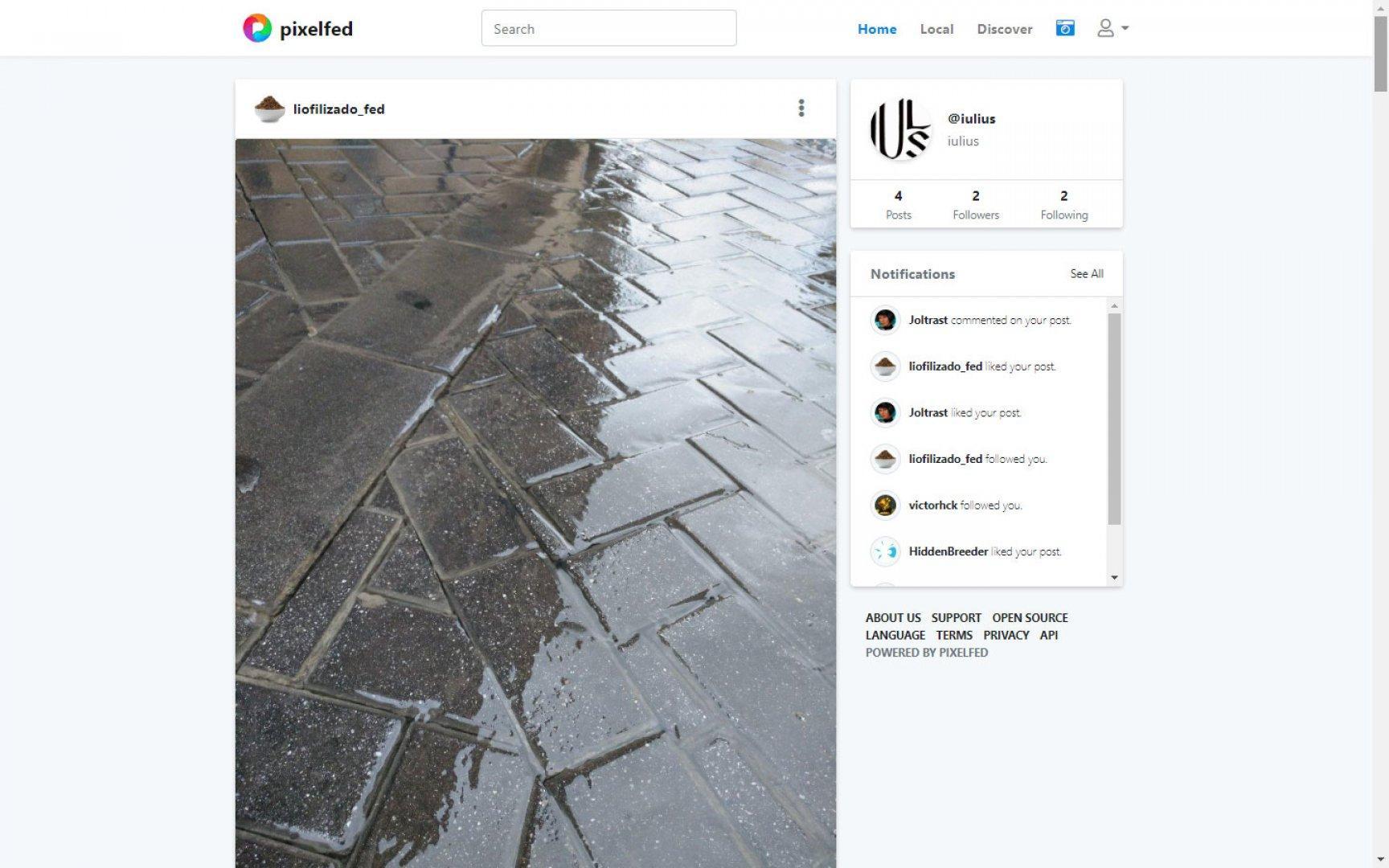 Página inicial del usuario de Pixelfed