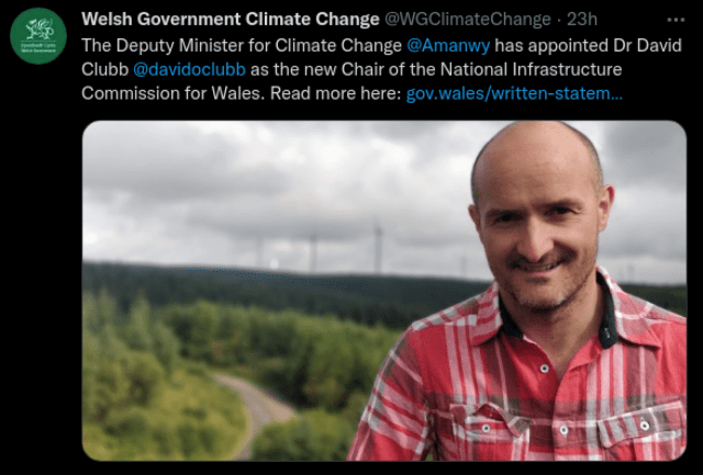 We're chuffed that our Partner David Clubb is the new Chair Designate of Comisiwn Seilwaith Cenedlaethol Cymru / National Infrastructure Commission for Wales 👏✊🏴 https://twitter.com/WGClimateChange/status/1441028862104817668  Good luck for the scrutiny session with the Senedd on 30 September! https://business.senedd.wales/mgIssueHistoryHome.aspx?IId=37957&EVT=113  <a rel=