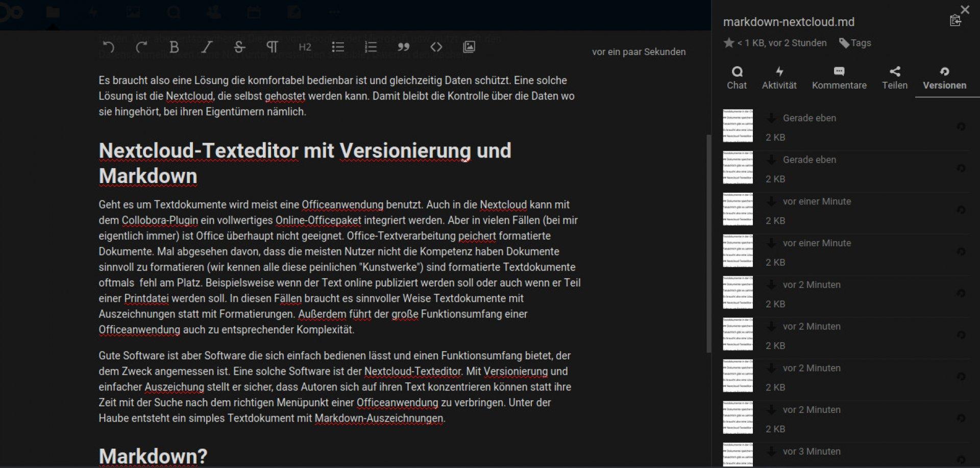 Der Nextcloud-Texteditor bietet Verionierung und speichert Markdown-Dolumente